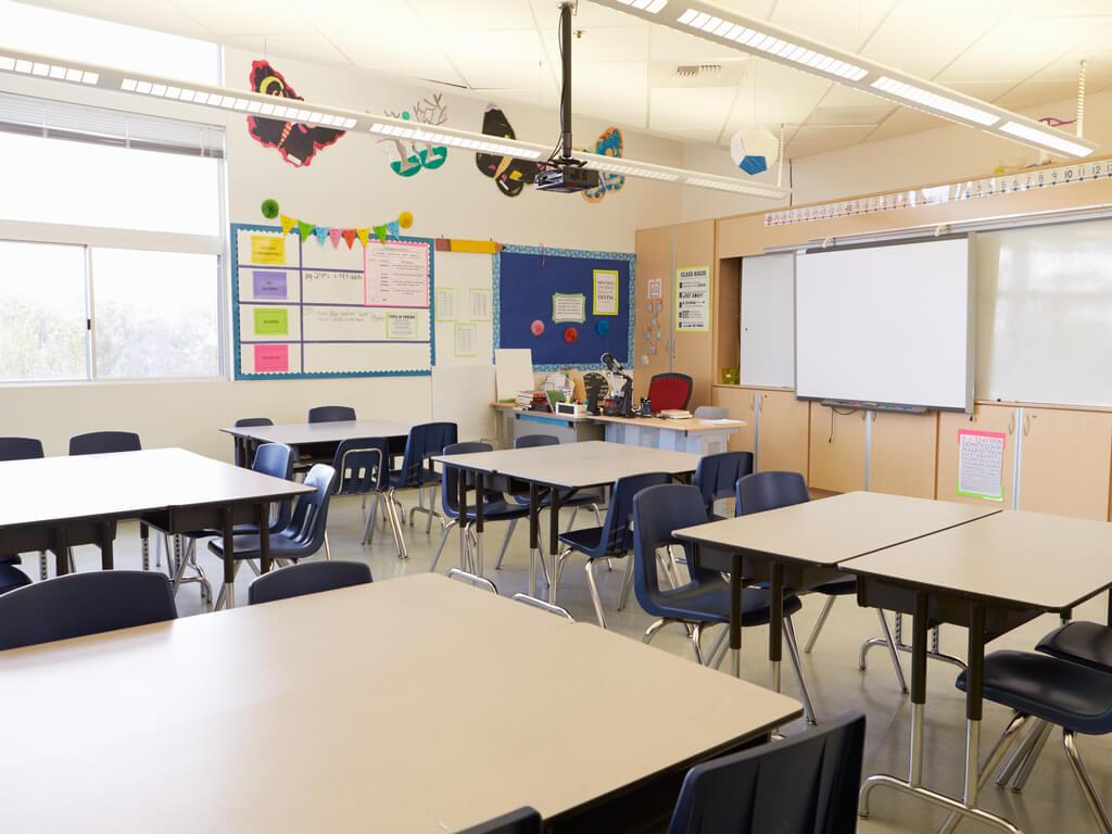 empty classroom at beginning of school year
